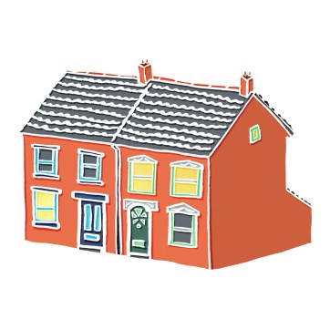 Little Semi-Detached House - hand-drawn and digitally coloured.